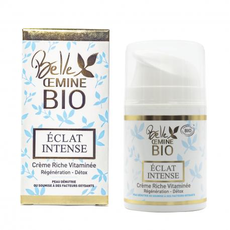 Crème Riche Vitaminée ECLAT INTENSE Régénération-Détox BELLE OEMINE BIO
