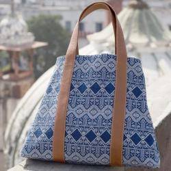 """Grand sac """"Patrali"""" bleu JHOLI"""